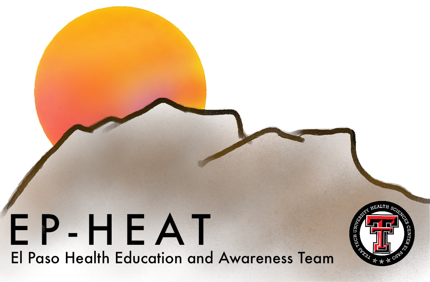 EP HEAT artwork of mountain landscape and sunset. EP HEAT logo at the bottom right.