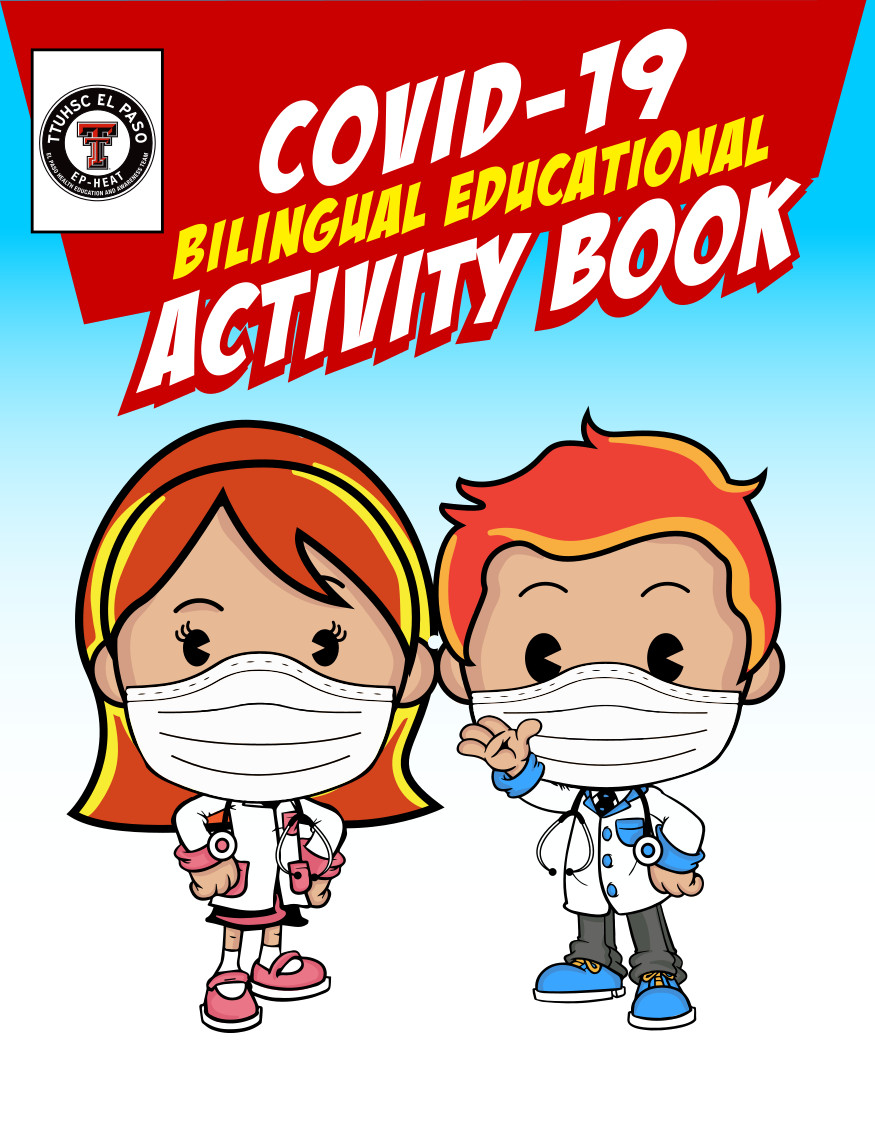 COVID-19 Bilingual Coloring Book Cover. Two cartoon children dressed as doctors and wearing mask.