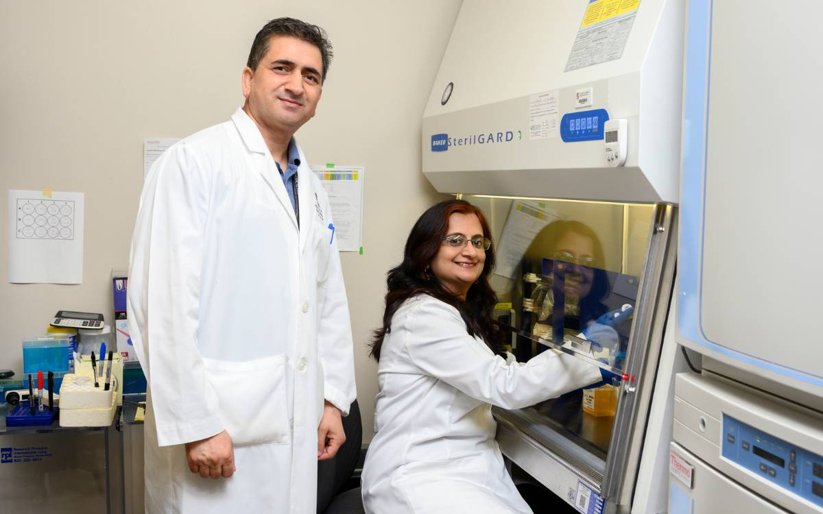 Dr. Munmun Chattopadhyay and member of her research team in a lab at the Center of Emphasis in Diabetes and Metabolism.