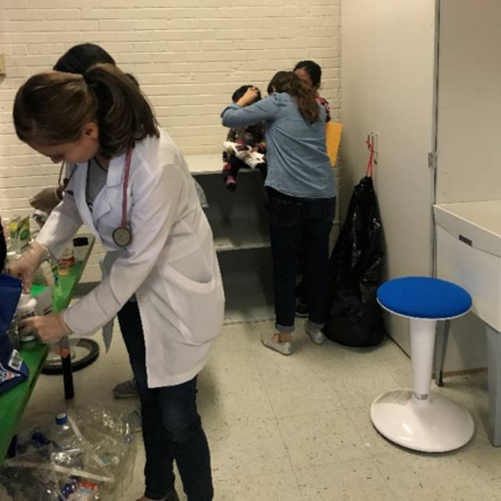 Volunteer residents from TTUHSC El Paso work in a hospitality center that houses asylum-seekers.