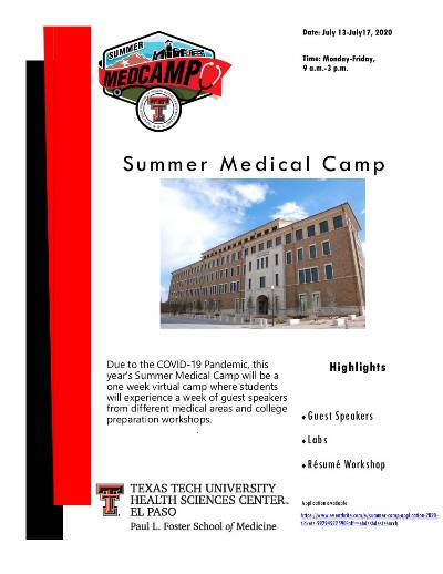 Thmbnail image for the 2020 High School Med Camp