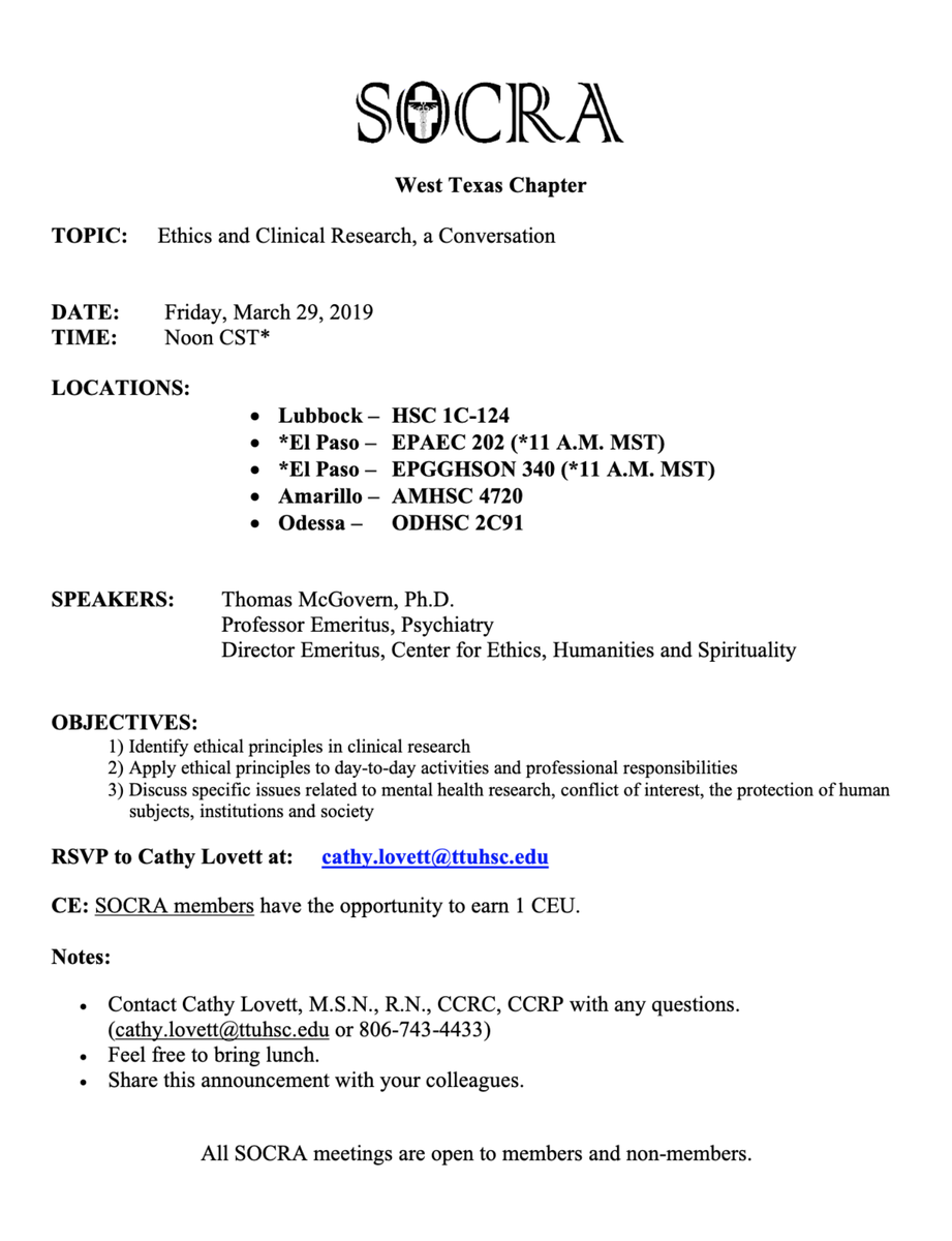 SOCRA West Texas Chapter Meeting – March 29