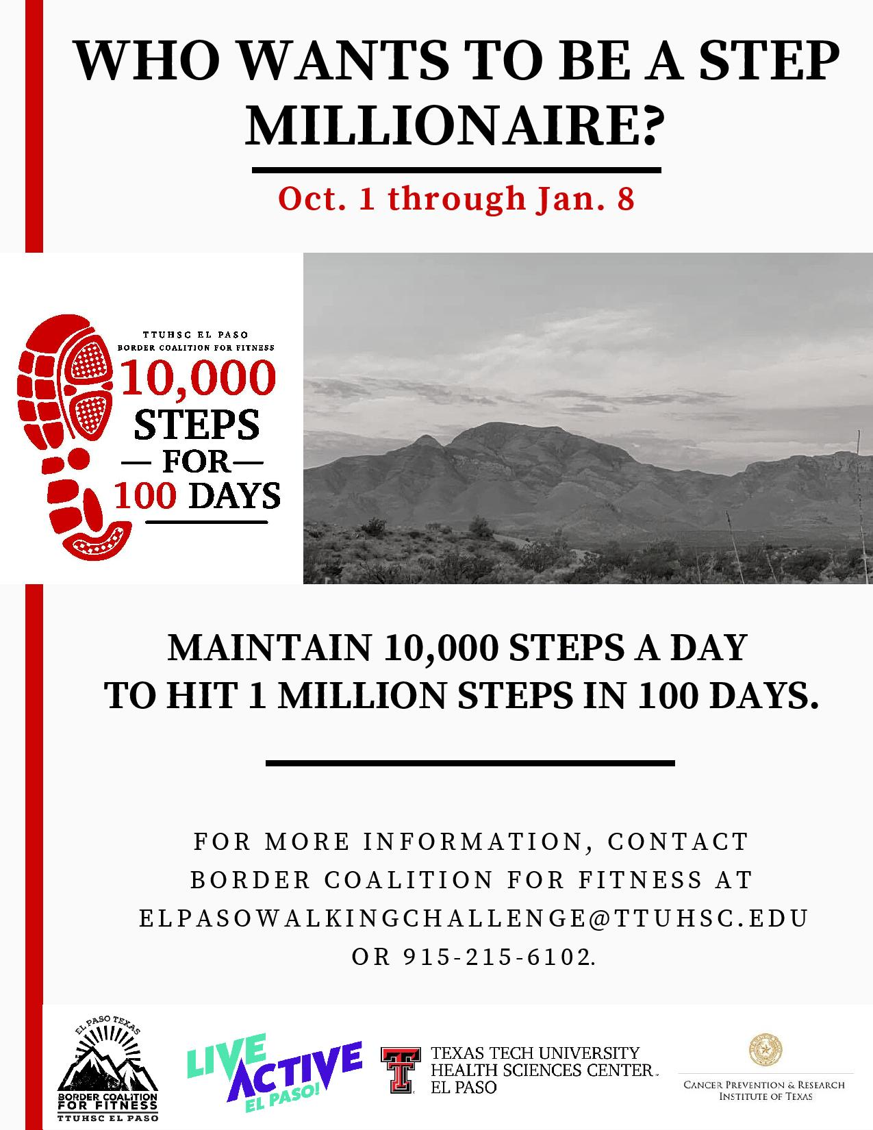10,000 Steps for 100 Days - Oct. 1-Jan. 8