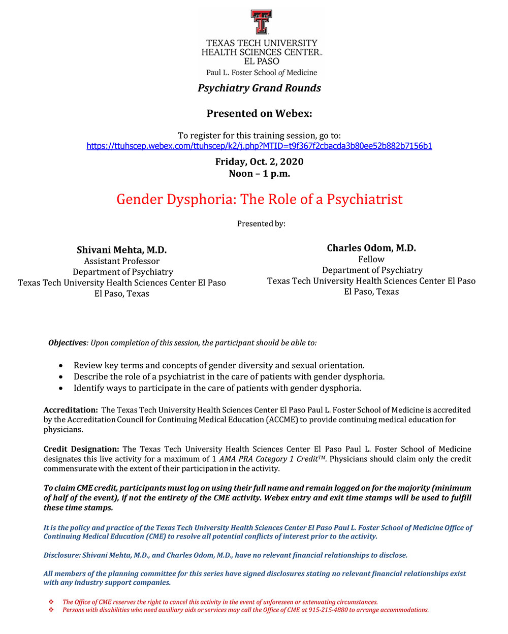 Psychiatry Grand Rounds - Oct. 2, 2020