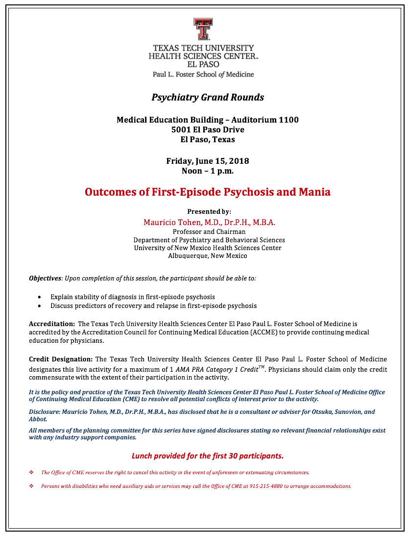 psychiatry grand rounds  u2013  u0026quot outcomes of first