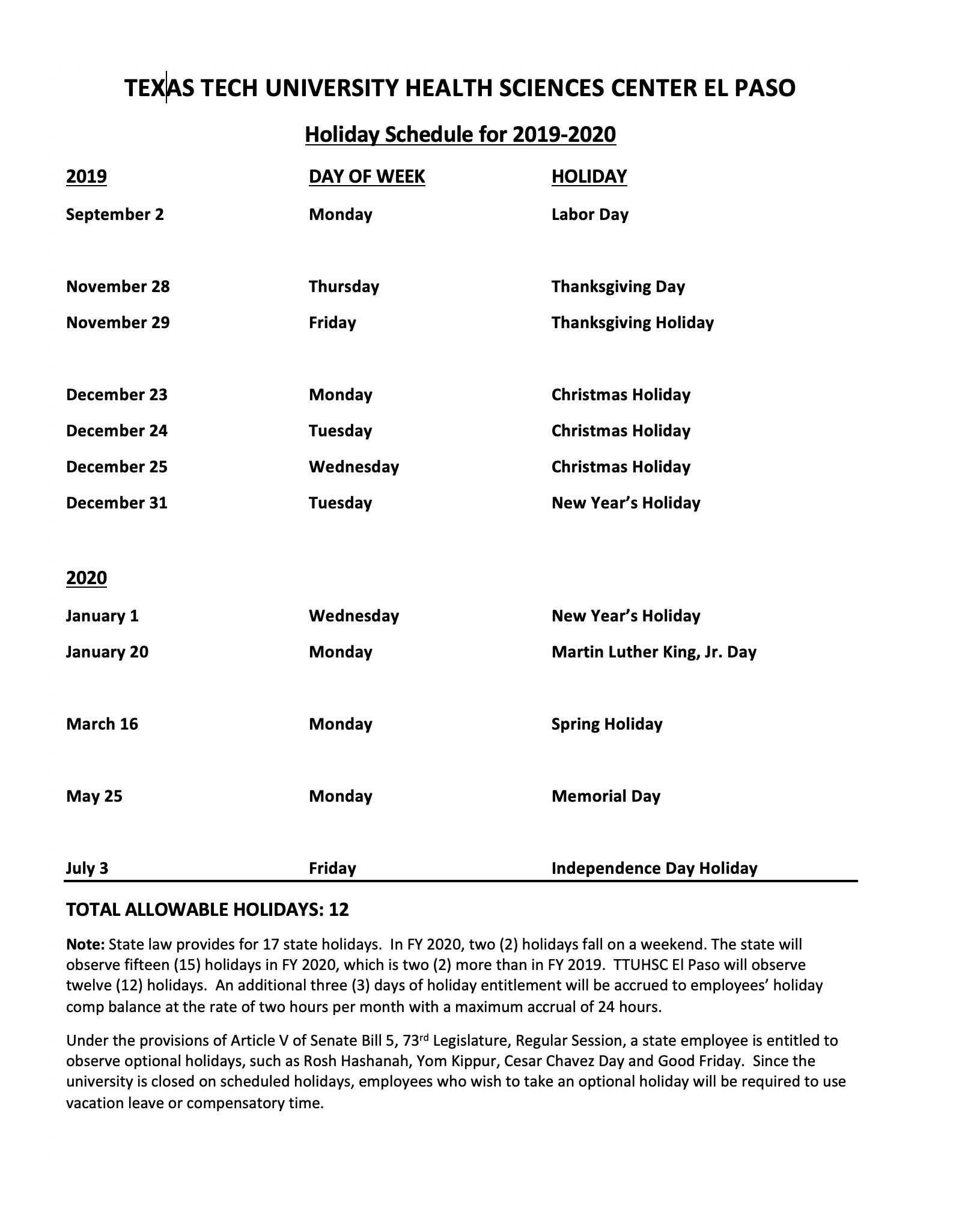 Holiday Schedule for 2019 2020