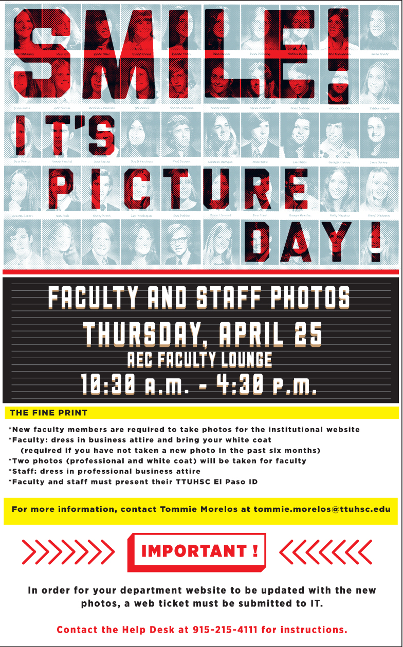 Faculty and Staff Picture Day – April 25